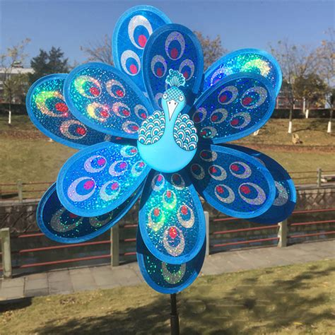 double layer peacock laser sequins windmill colourful wind