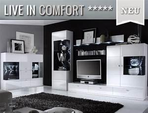 Lowboard Schwarz Weiß : edle wohnwand sideboard montiert in hochglanz wei ~ Lateststills.com Haus und Dekorationen