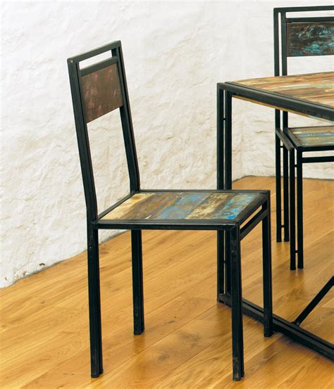 agra solid reclaimed wood set of two dining room chairs ebay