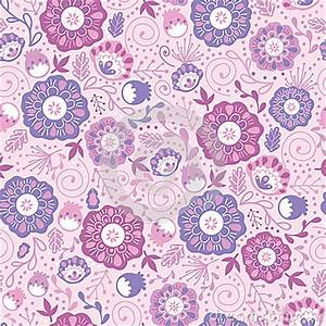 Purple Blossom Flowers Seamless Pattern Background Stock ...