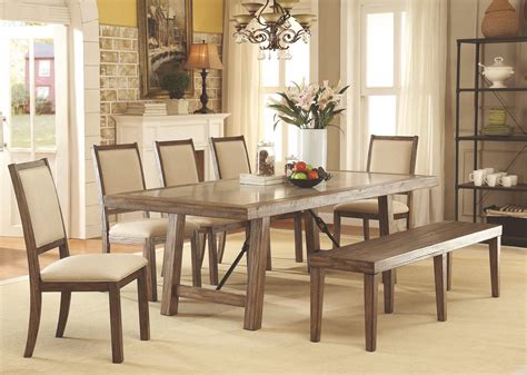 colettte rustic oak rectangular dining room set cmt