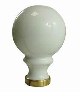 Boule De Rampe D Escalier : boule de rampe d 39 escalier blanche 80 mm en porcelaine de limoges sur embase laiton ~ Melissatoandfro.com Idées de Décoration