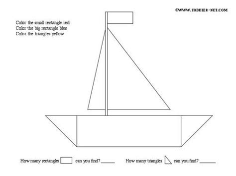 Boat Shape Drawing by Shapes Activity Sheets Boat