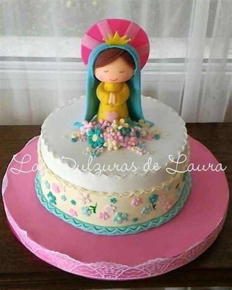 Virgencita Porfis bautizo Comunion nena Tortas de