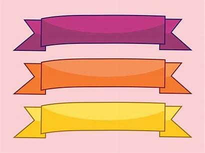 Banner Ribbon Banners Clipart Vector Ribbons Flat