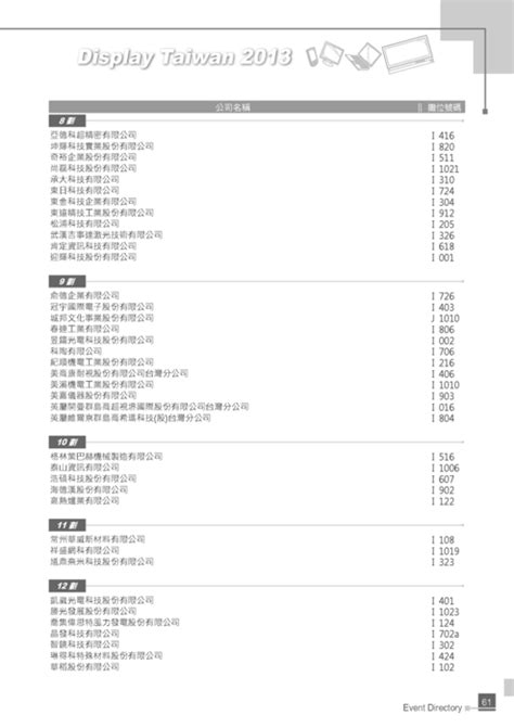 id馥 d馗o cuisine http gogofinder com tw books pida 2 2013 display 台灣平面顯示器展 參展名錄