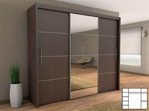 Kleiderschrank 250 Cm : schiebet renschrank kleiderschrank mit spiegel 250 cm wenge m bel24 ~ Whattoseeinmadrid.com Haus und Dekorationen