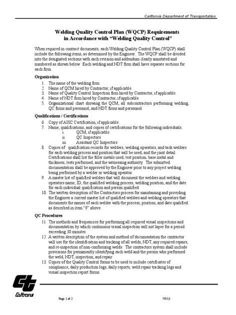 Welding Quality Control Plan Req (1) | Nondestructive