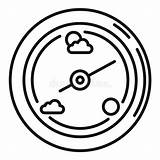 Barometer Weather Icon Outline Humidity Simple Sensor Isolated sketch template