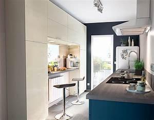 meuble de cuisine gossip sable et bleu castorama With castorama peinture meuble cuisine