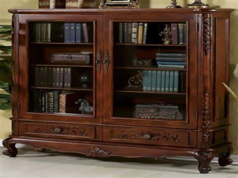 Wooden Bookshelves With Glass Doors Home Ideas Collection