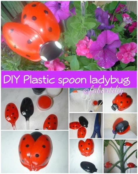 Ladybird Garden Decoration by Plastic Spoons Spoons And Ladybugs On
