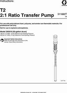 Graco 311882t T2 2 1 Ratio Transfer Pump Users Manual