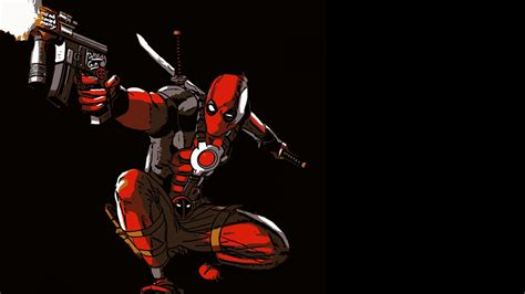 deadpool cartoon  dark background  wallpaper hd