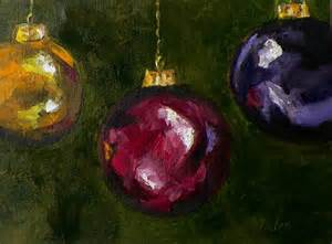 original oil painting christmas tree ornaments holiday art by