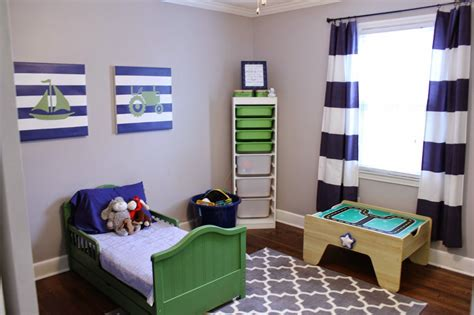 navy blue & green toddler boy bedroom; transportation