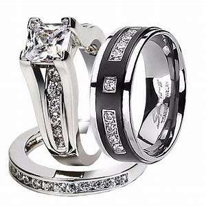 his hers 3 pcs cz 925 sterling silver black titanium With titanium wedding rings sets