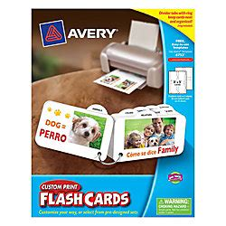Avery Custom Print Flash Cards Punched Avery Custom Print Flash Cards With Ring And Tabs 3 X 5