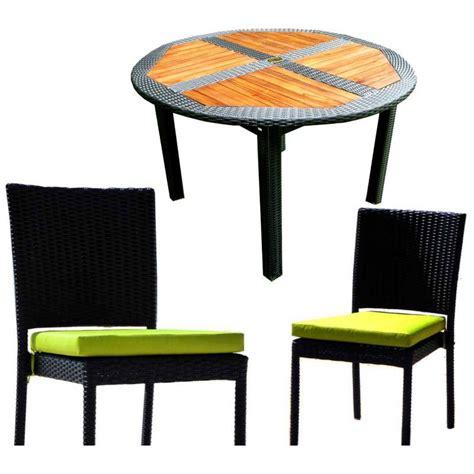 ensemble table ronde de jardin en teck et chaises de jardin en r 233 sine