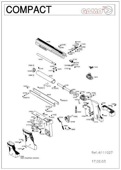 Gamo Compact airgun parts breackdown.