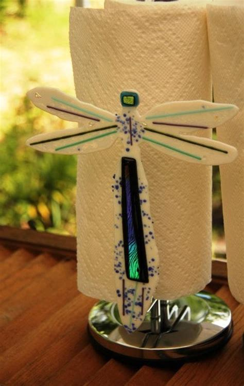 items similar  fused glass dragonfly paper towel holder fused glass paper towel holder  etsy