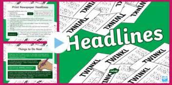 newspaper headlines ks twinkl resources teacher