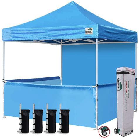 eurmax  ez pop  booth canopy tent commercial instant canopies   full sidewall