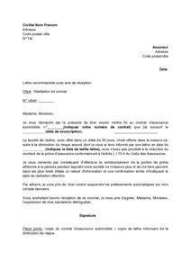 lettre de r 233 siliation de contrat d assurance automobile