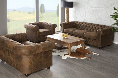 canape capitone canapé chesterfield 3 places marron design