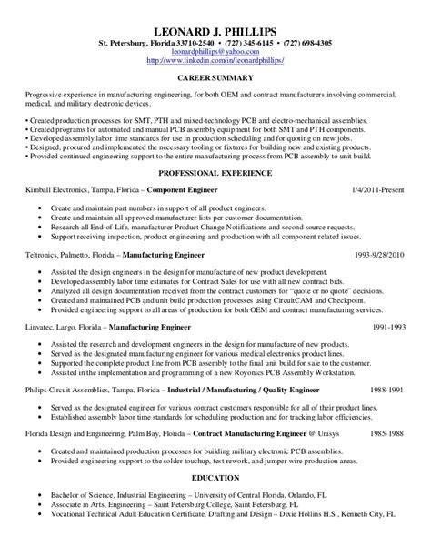 Electronic Assembler Resume Template by Engineering Resume Objectives Sle Http Jobresumesle