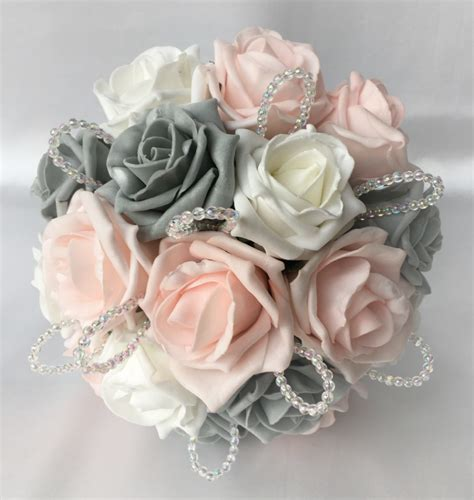 posy bouquet  baby pink grey  white roses artificial