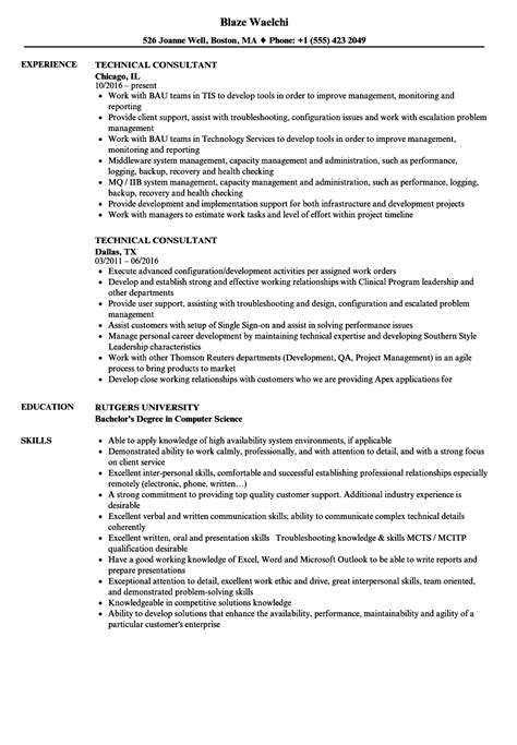 It Consulting Resume by Technical Consultant Resume Bijeefopijburg Nl