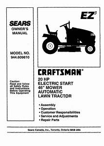 Craftsman 944609810 User Manual Lawn Tractor Manuals And Guides 99020015