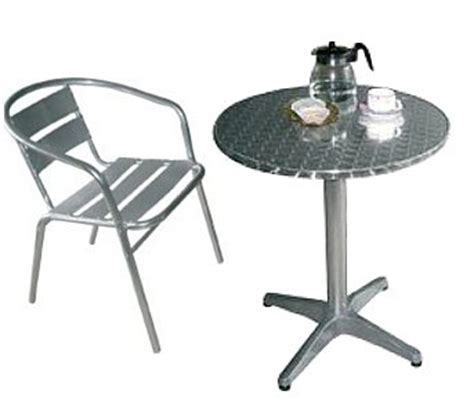 table 4 x chairs cafe bistro style aluminium and