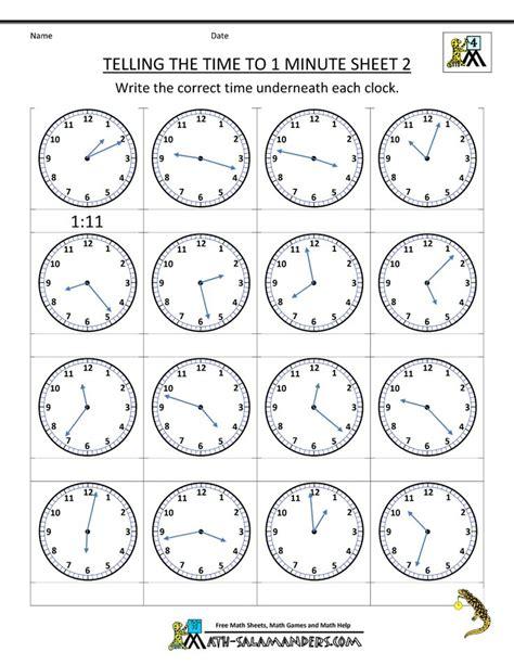 clock worksheets   minute  images clock