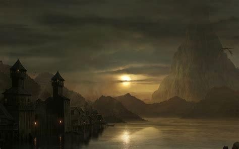 dragon flying   lake  dusk hd wallpaper