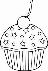 Cupcake Outline Cute Cake Cup Clipart Transparent Pinclipart Sun sketch template