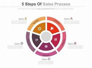 Five Steps Sales Process Diagram Powerpoint Slides