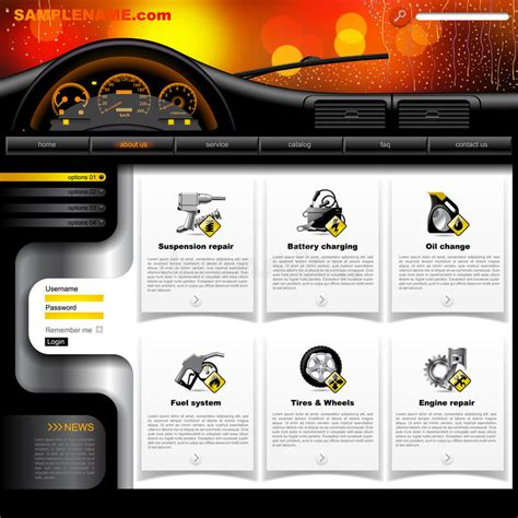 Automobile Website Design by Automobile Service Website Template Stock Vector Image