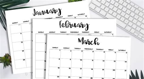 printable  monthly calendar classic lovely