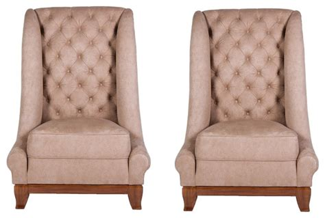 Pair Of Tall Back Italian Leather Tufted Upholstered