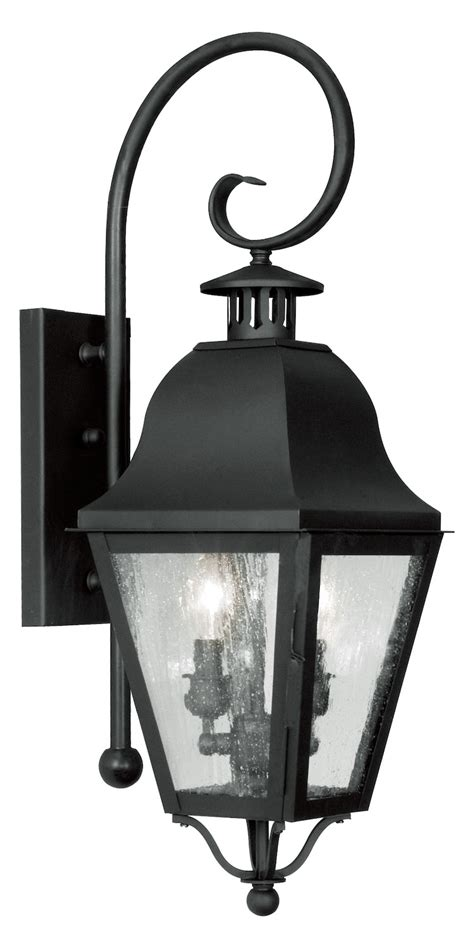 livex lighting black amwell large outdoor wall sconce with