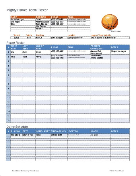 roster template excel basketball team roster template for excel
