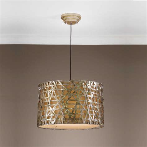 uttermost alita chagne metal drum three light pendant