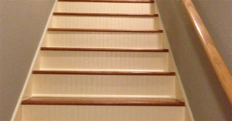 New stairs!! Wood treads with painted bead board kick