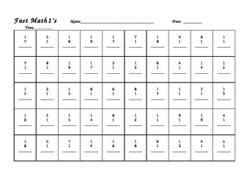 fast math 1 10 worksheets math fact recall practice