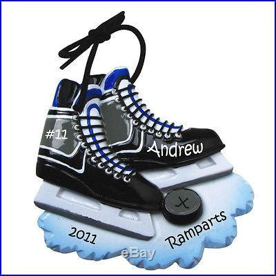 hockey skates personalized christmas tree ornament