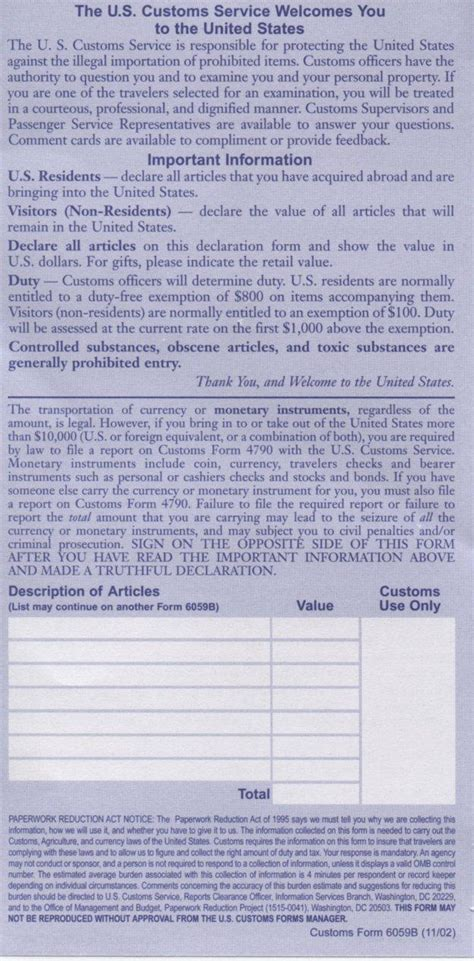 u s customs declaration form 6059b pictures to pin on