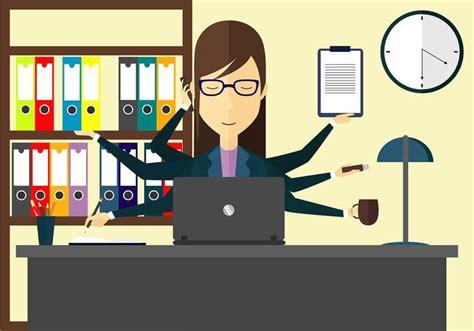bureau concept multi tâches femme illustration vecteur gratuit