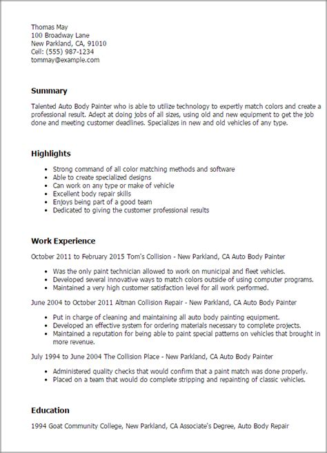 Painter Resume Template by Professional Auto Painter Templates To Showcase Your Talent Myperfectresume